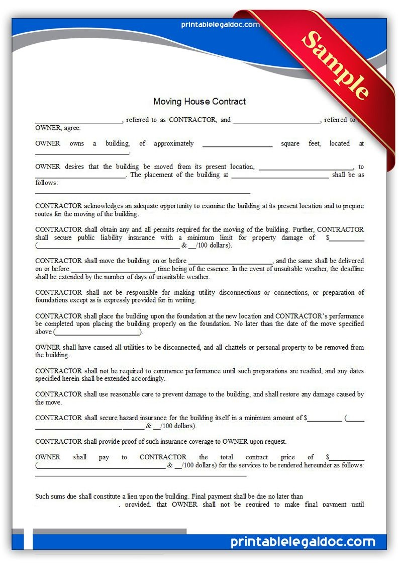 Free Printable Moving House Contract Legal Forms | Free Legal Forms - Free Printable Legal Documents Forms