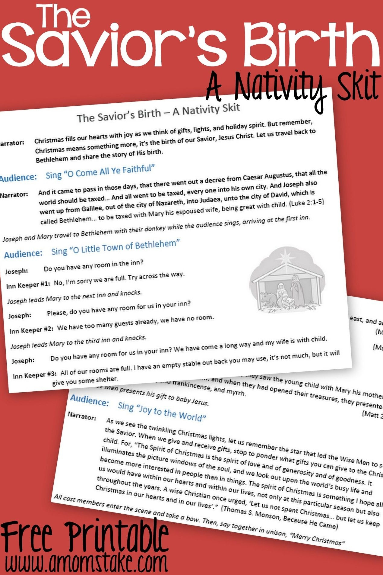 Free Printable Nativity Skit To Act Out The Birth Of The Savior - Free Printable Halloween Play Scripts