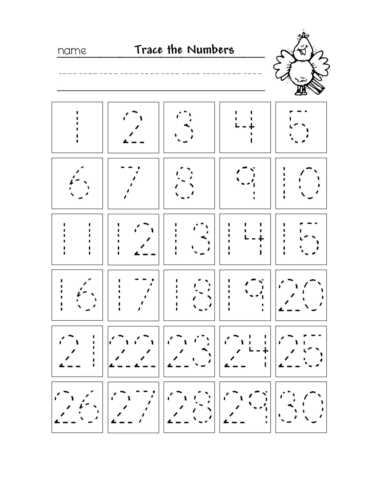 Free Printable Number Chart 1-30   Kinder   Number Tracing - Free Printable Number Worksheets