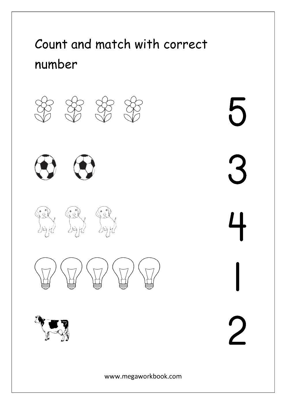 Free Printable Number Matching Worksheets For Kindergarten And - Free Printable Number Worksheets For Kindergarten