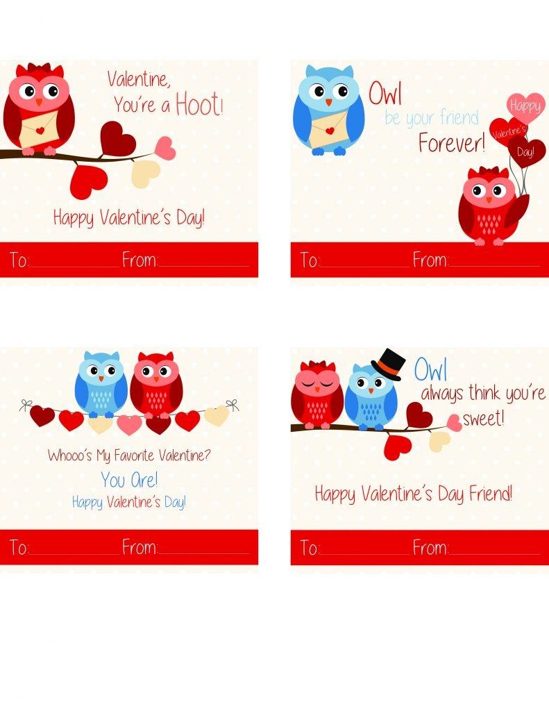 Free Printable Owl Valentine Cards   California Unpublished - Free Printable Owl Valentine Cards