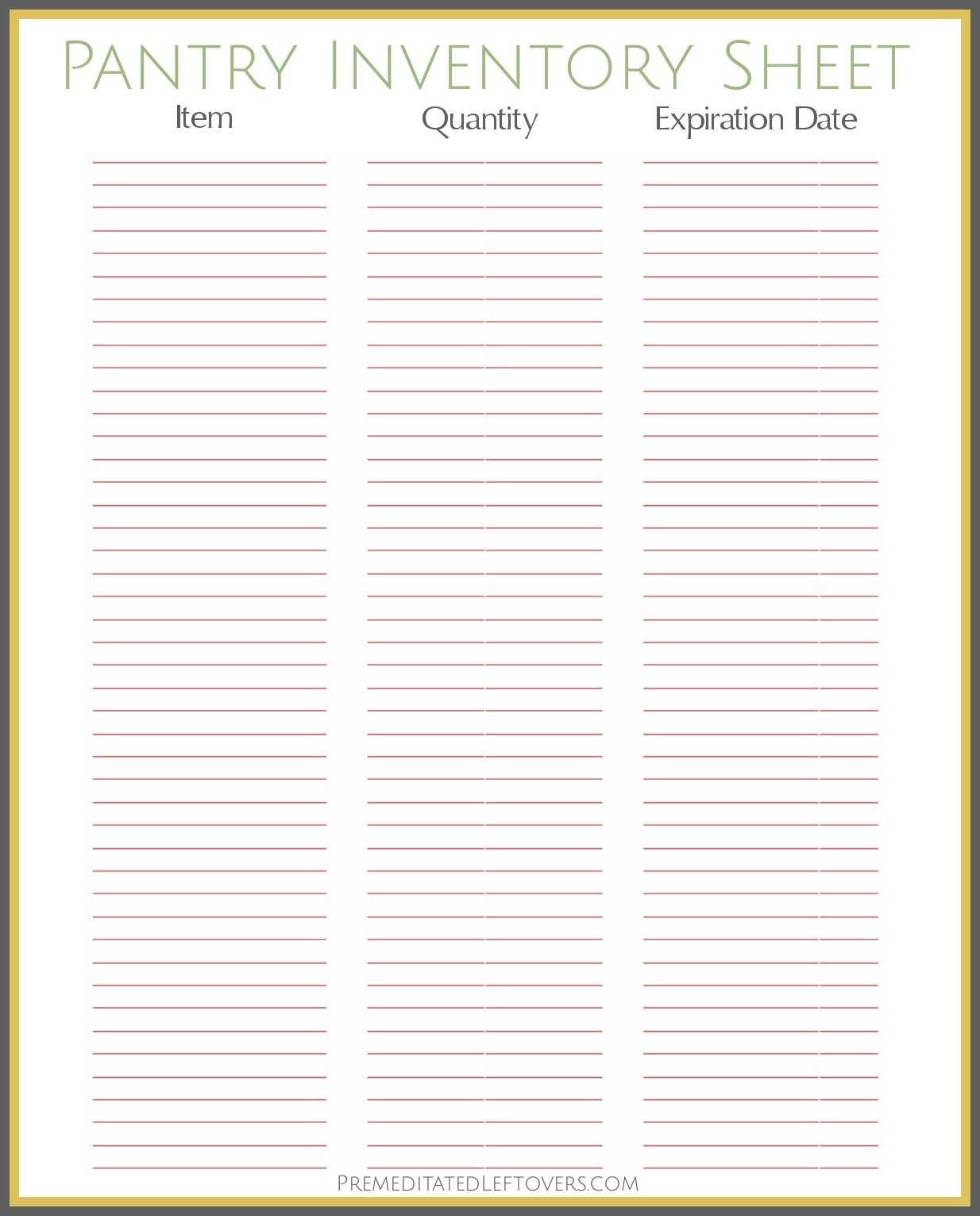 Free Printable Pantry Inventory Sheet … | Printables - Cool - Free Printable Inventory Sheets Business