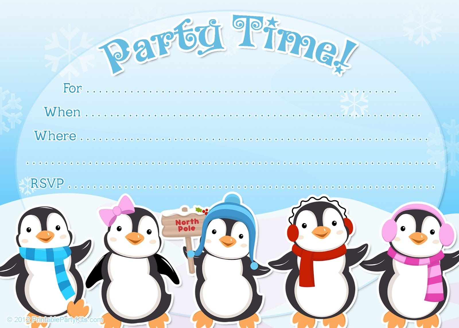 Free Printable Penguin Winter Or Holiday Invitation Template From - Free Printable Penguin Template