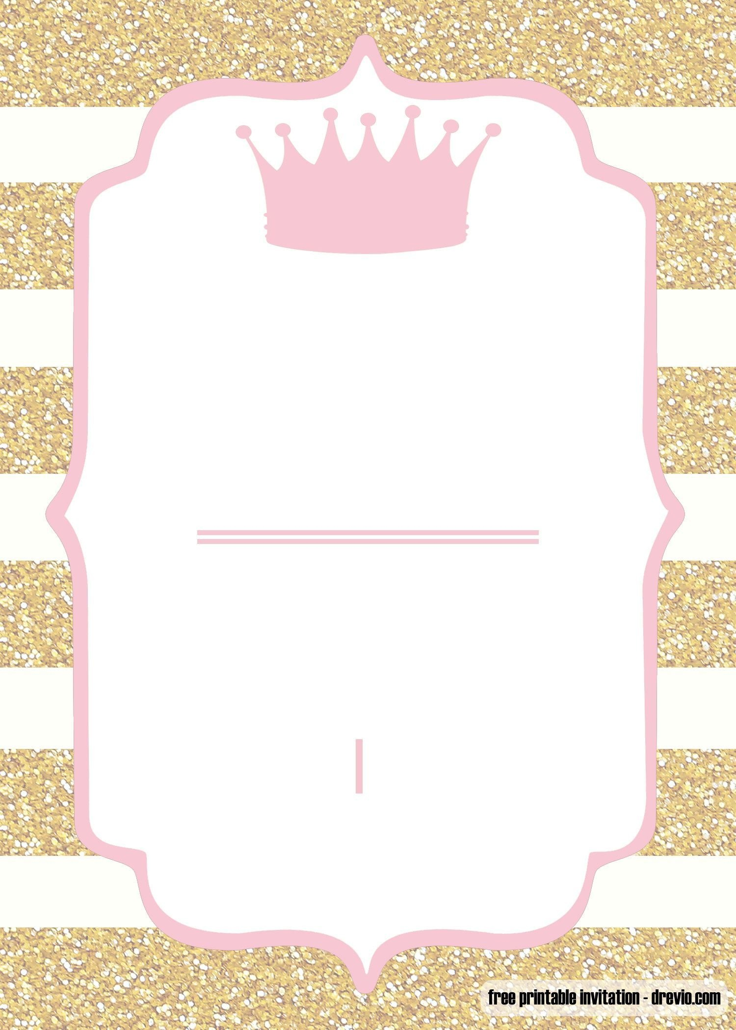 Free Printable Pink And Gold Baby Shower Invitation | Baby - Free Printable Princess Baby Shower Invitations
