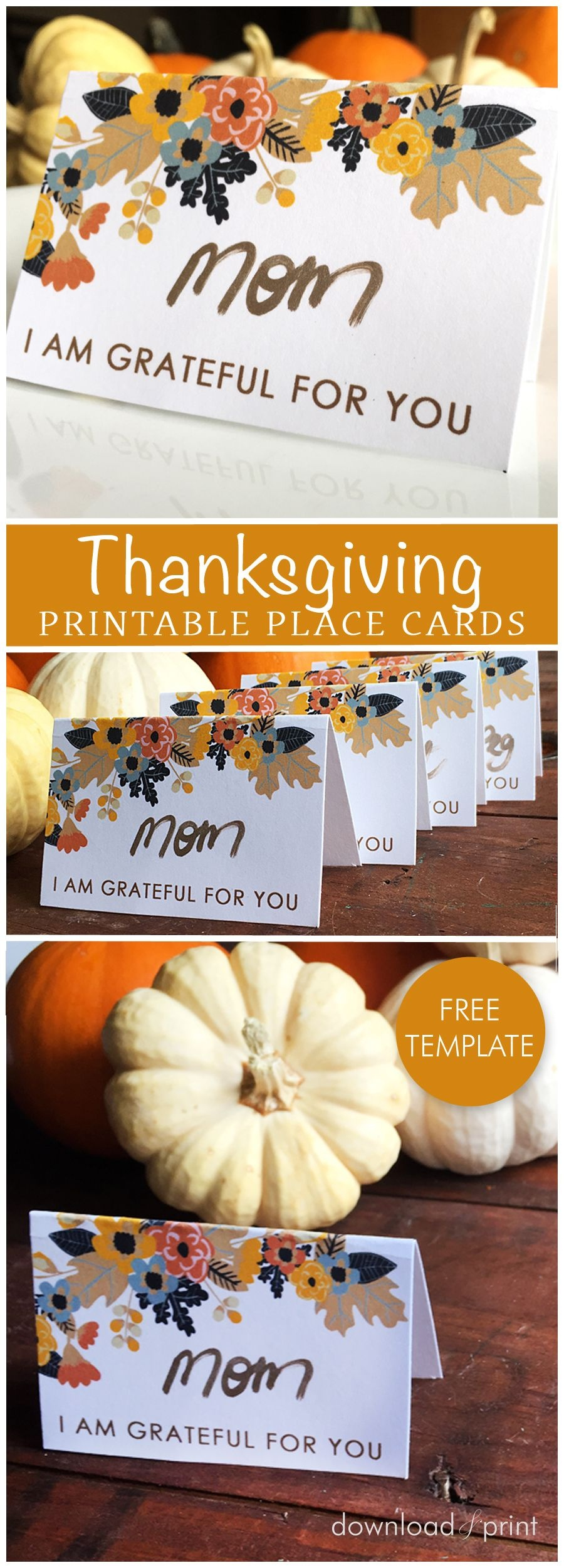 Free Printable Place Card Template, Perfect For Your Thanksgiving - Free Printable Thanksgiving Place Cards