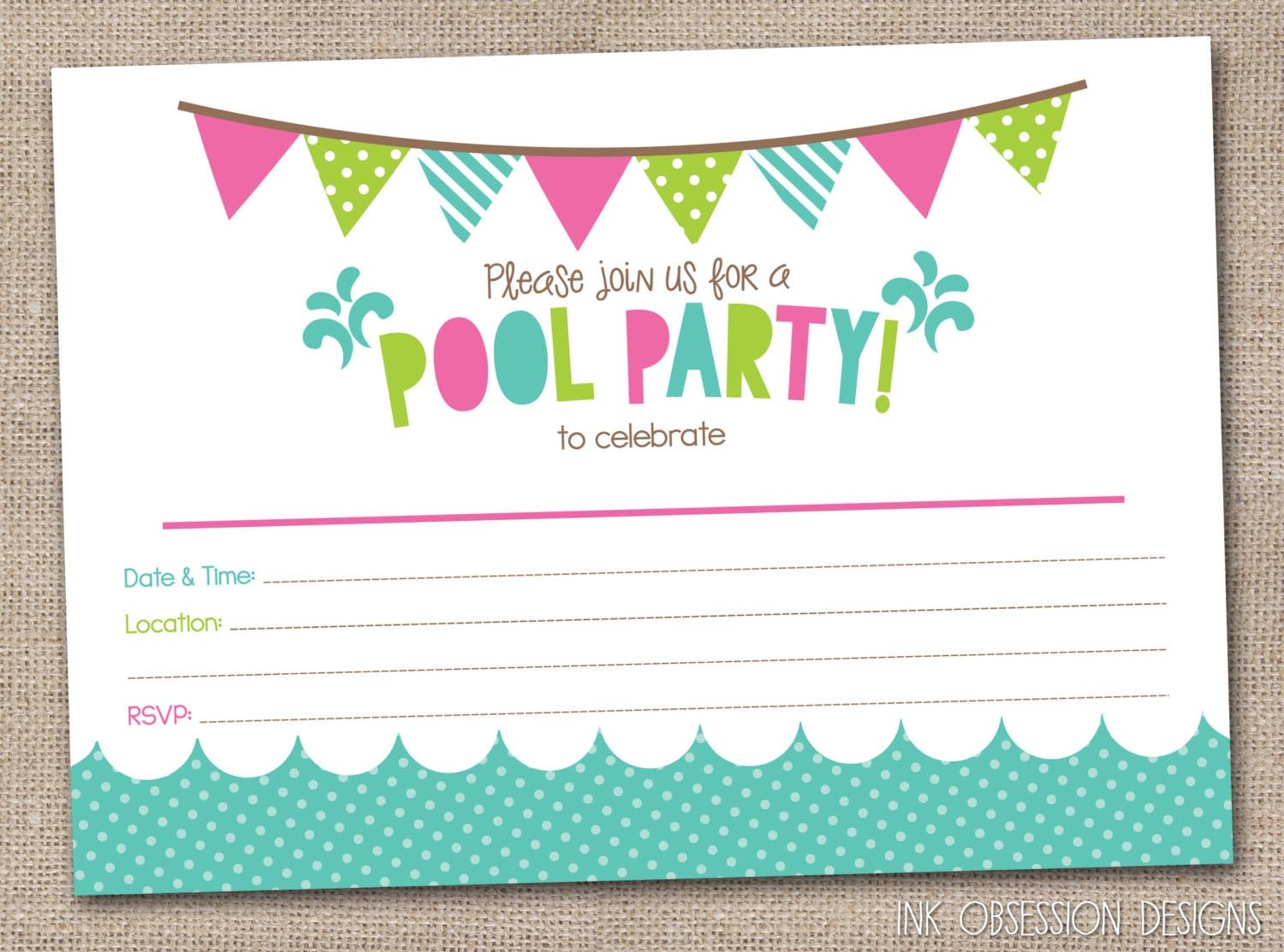 Free Printable Pool Party Birthday Invitations | Backyard Design Ideas - Free Printable Pool Party Invitations
