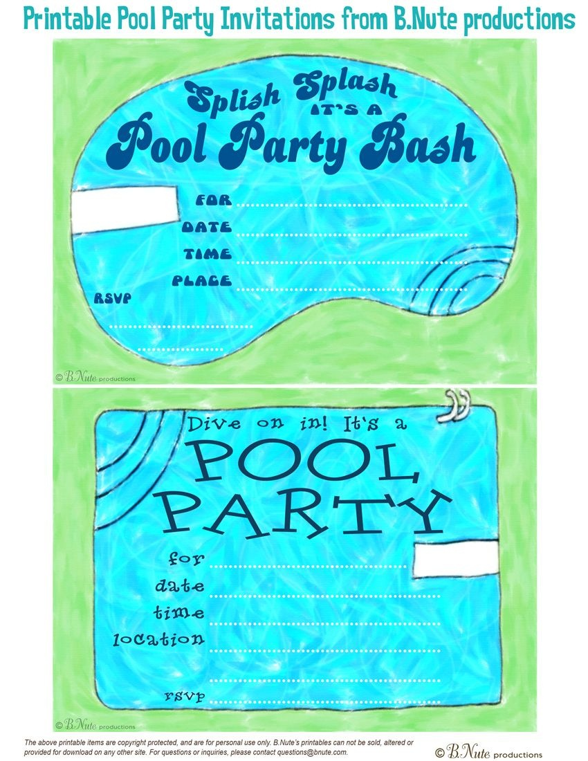 Free Printable Pool Party Invitations | Pool Party Invitations - Free Printable Pool Party Invitations