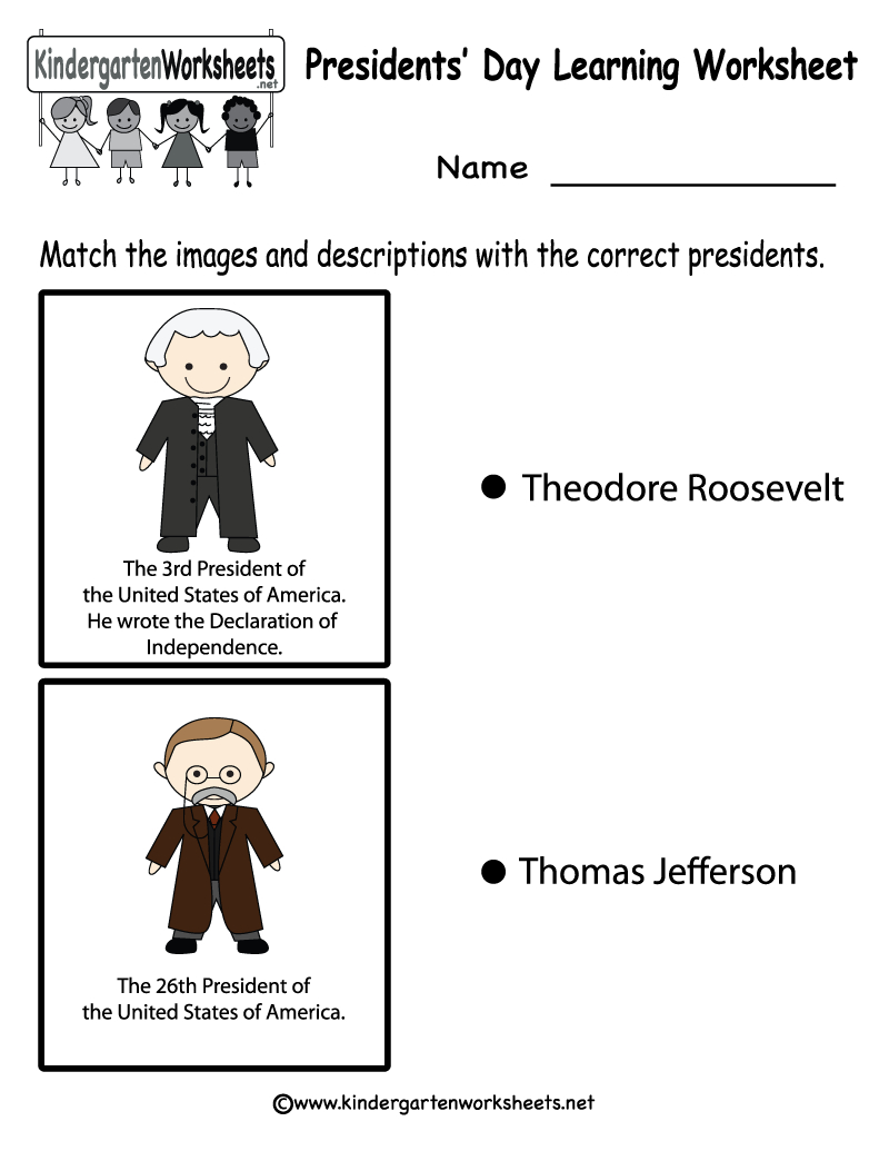 Free Printable Presidents' Day Learning Worksheet For Kindergarten - Free Printable Presidents Day Worksheets