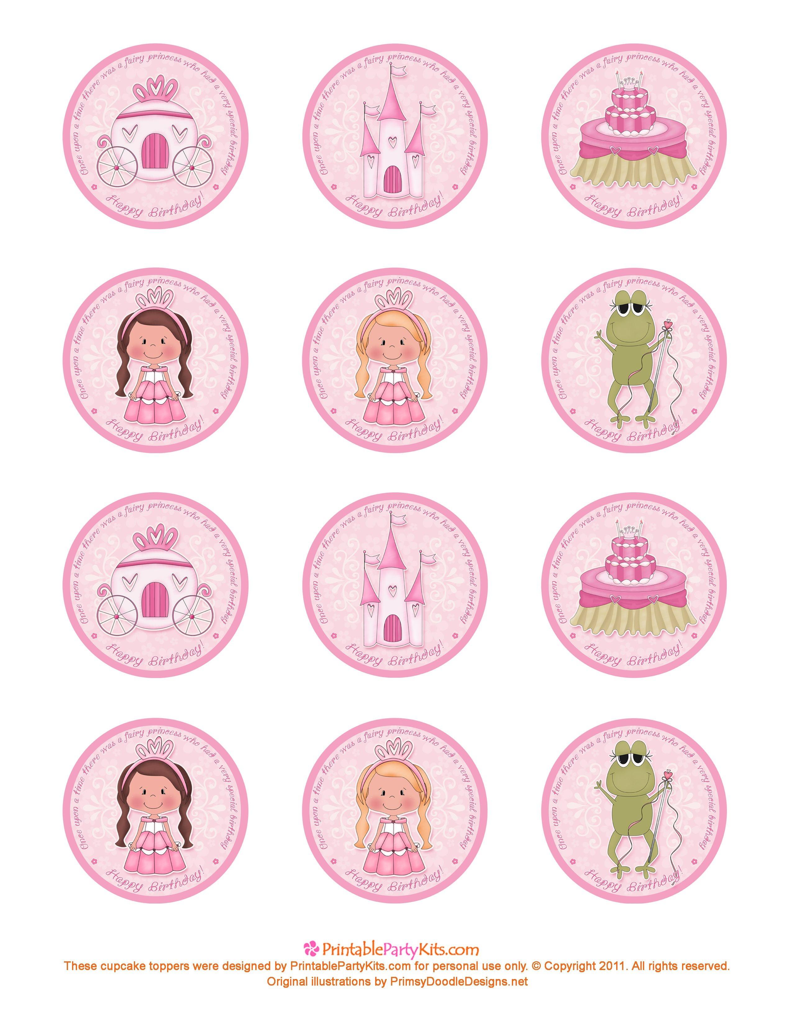 Free Printable Princess Birthday Cupcake Toppers   Printable Party - Free Printable Cupcake Toppers