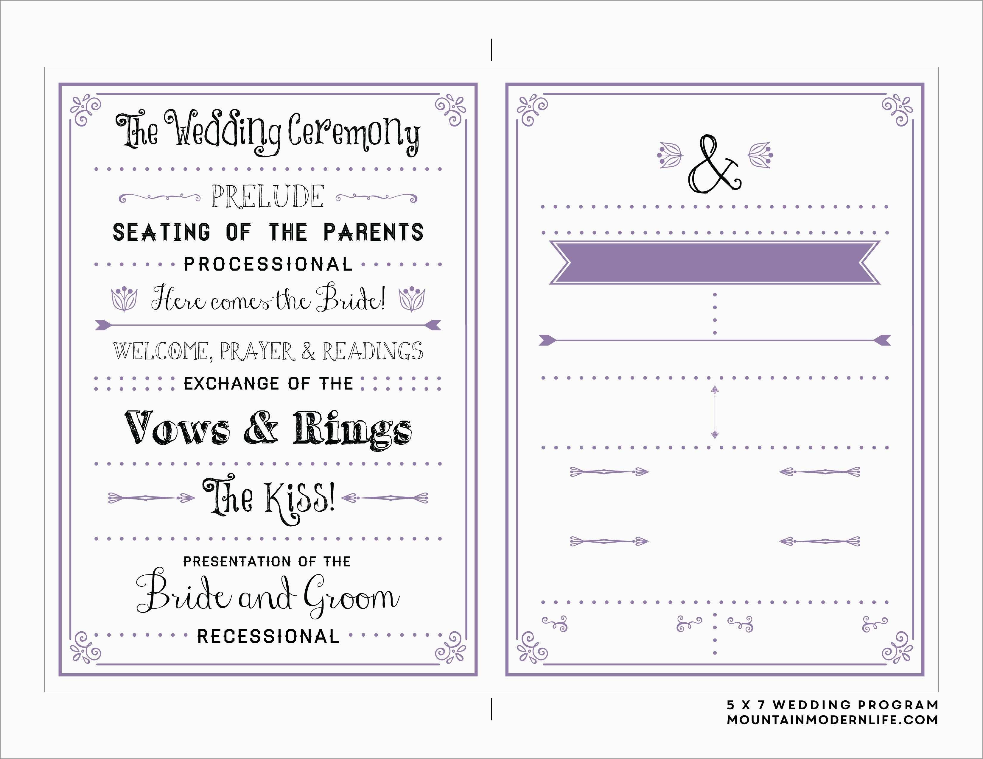 Free Printable Program Templates For Church Best Wedding Ceremony - Free Printable Wedding Program Templates Word
