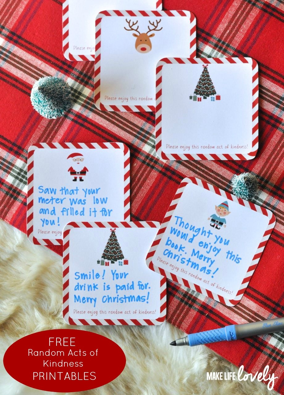Free Printable Random Act Of Kindness Cards - Make Life Lovely - Free Printable Kindness Cards
