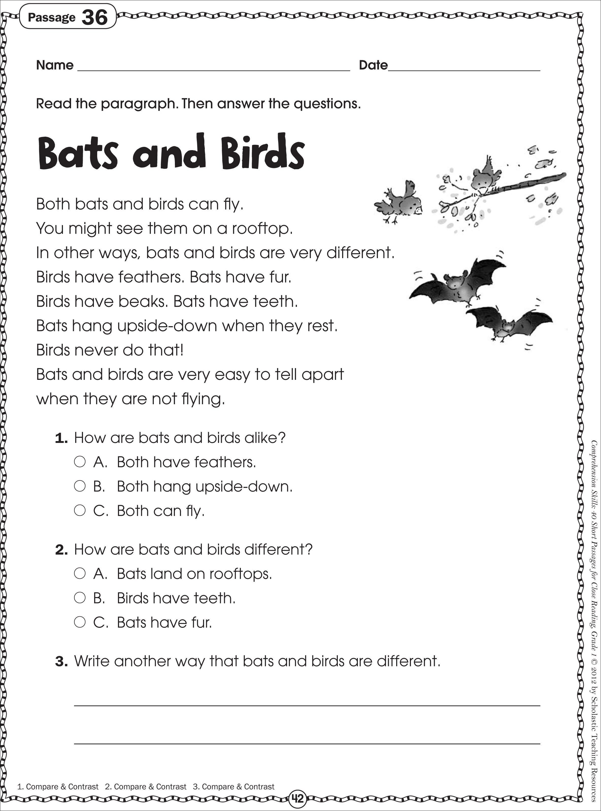Free Printable Reading Comprehension Worksheets For Kindergarten - Free Printable Ela Worksheets