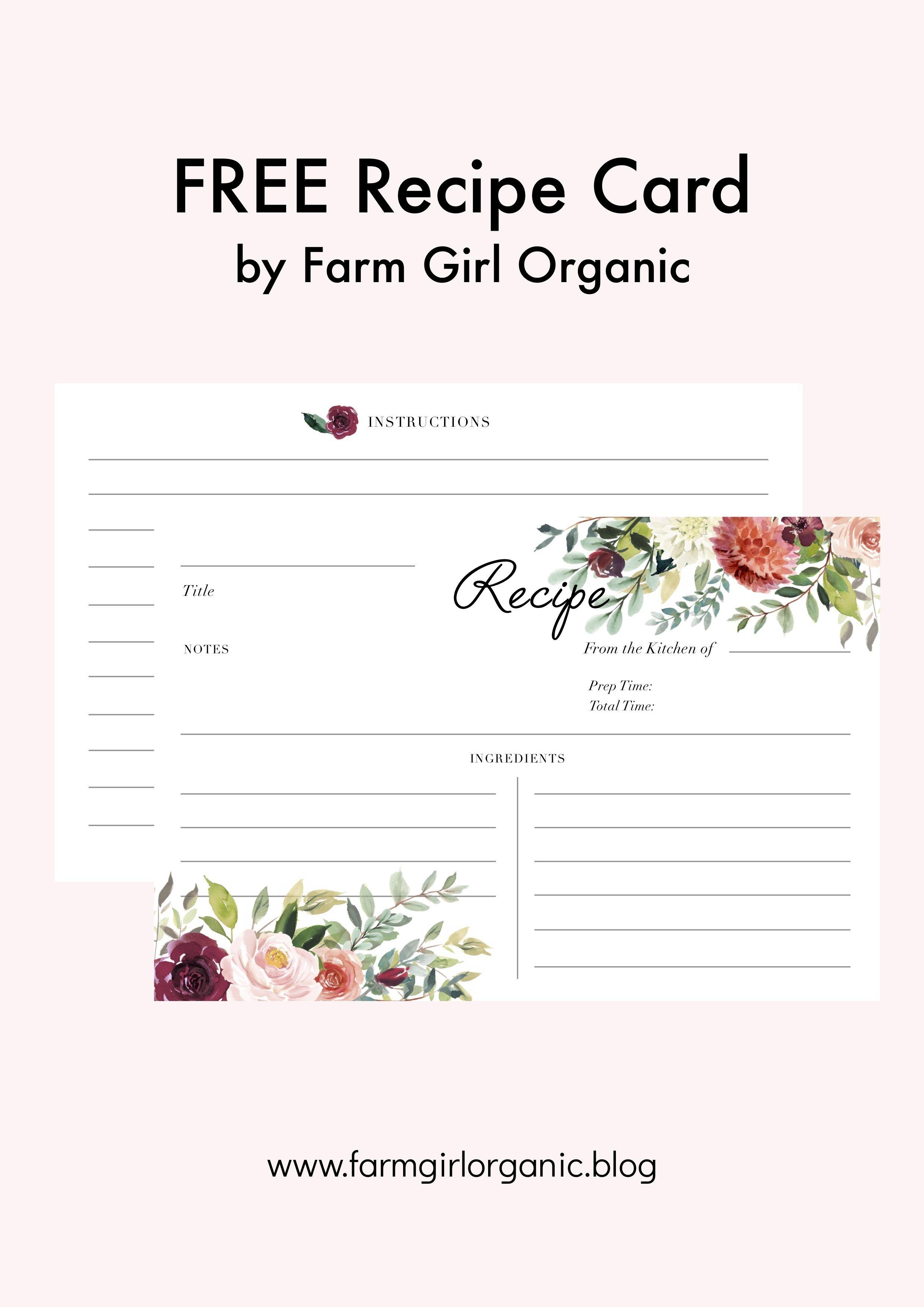 Free Printable Recipe Cardfarm Girl Organic ::::::::: Pdf File - Free Printable Cookbooks Pdf