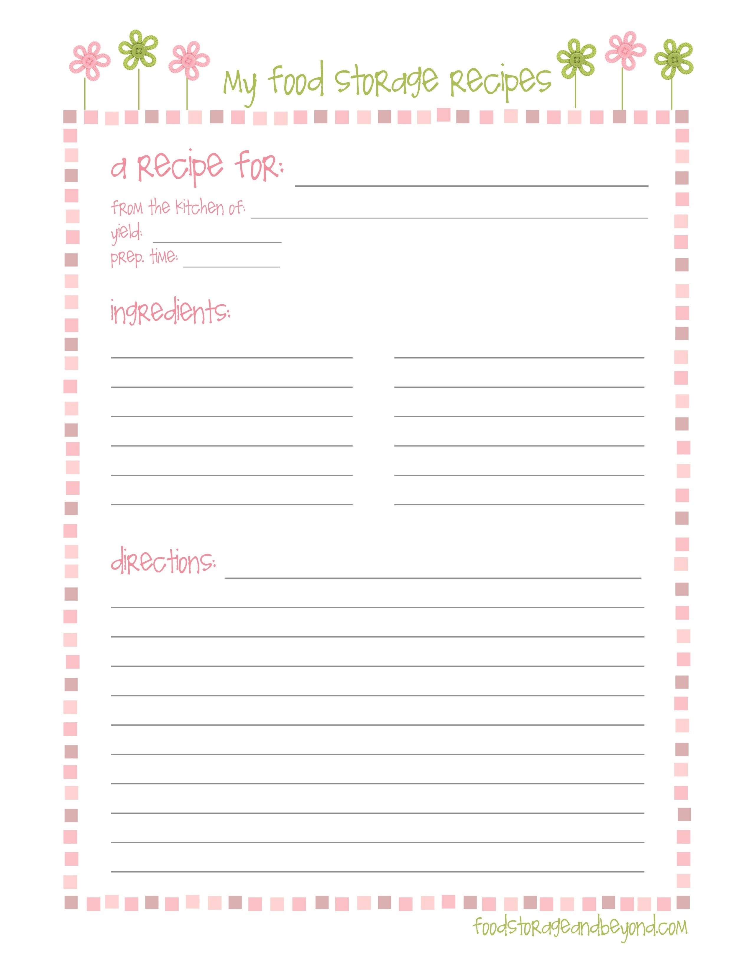 Free Printable Recipe Templates 8X11 | Lazine - Free Printable Recipe Page Template