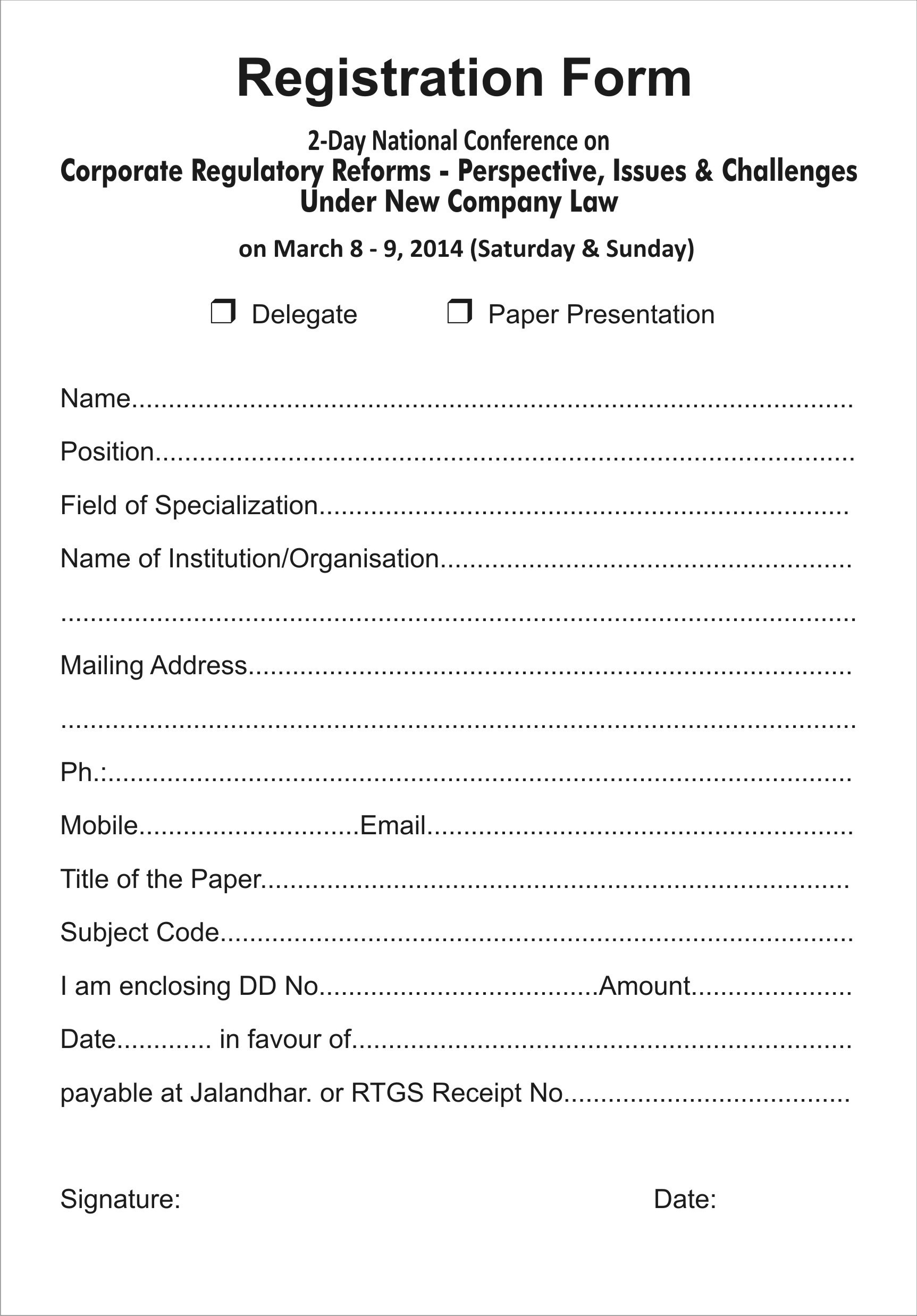 Free Printable Registration Form Template | Shop Fresh - Free Printable Membership Forms