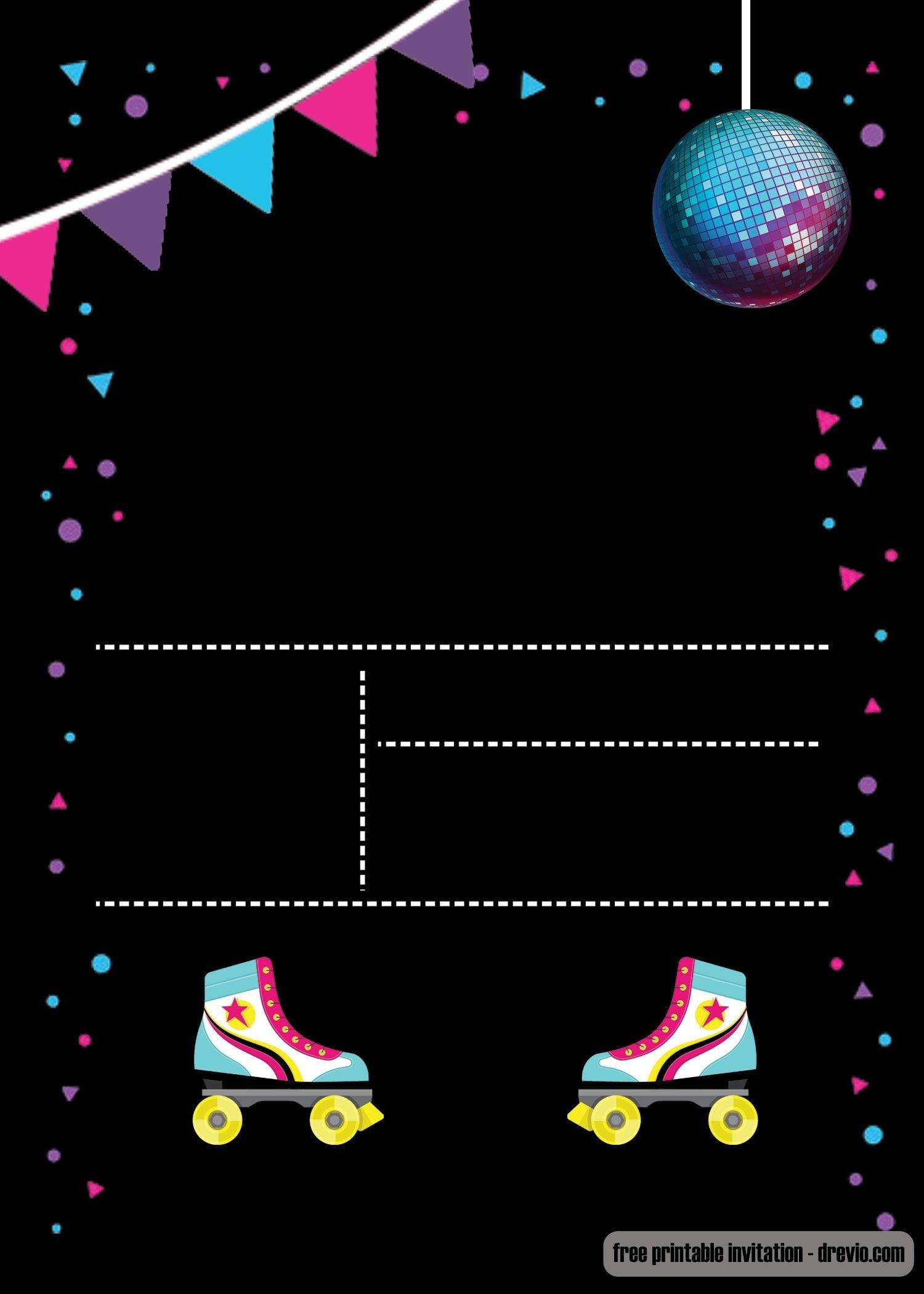 Free Printable Roller Skating Invitation   Invites   Birthday - Free Printable Roller Skate Template