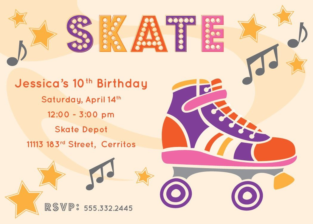 Free Printable Roller Skating Party Invitations   Laylas Birthday - Free Printable Roller Skate Template
