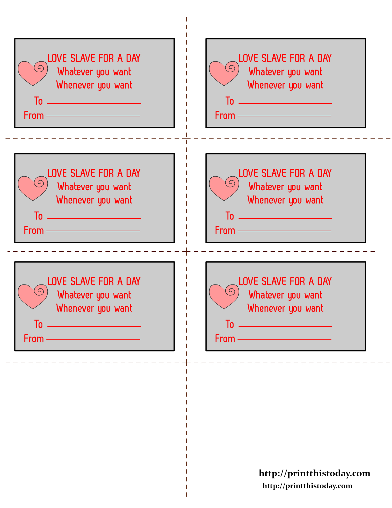 Free Printable Romantic Love Coupons - Free Printable Coupons For Husband