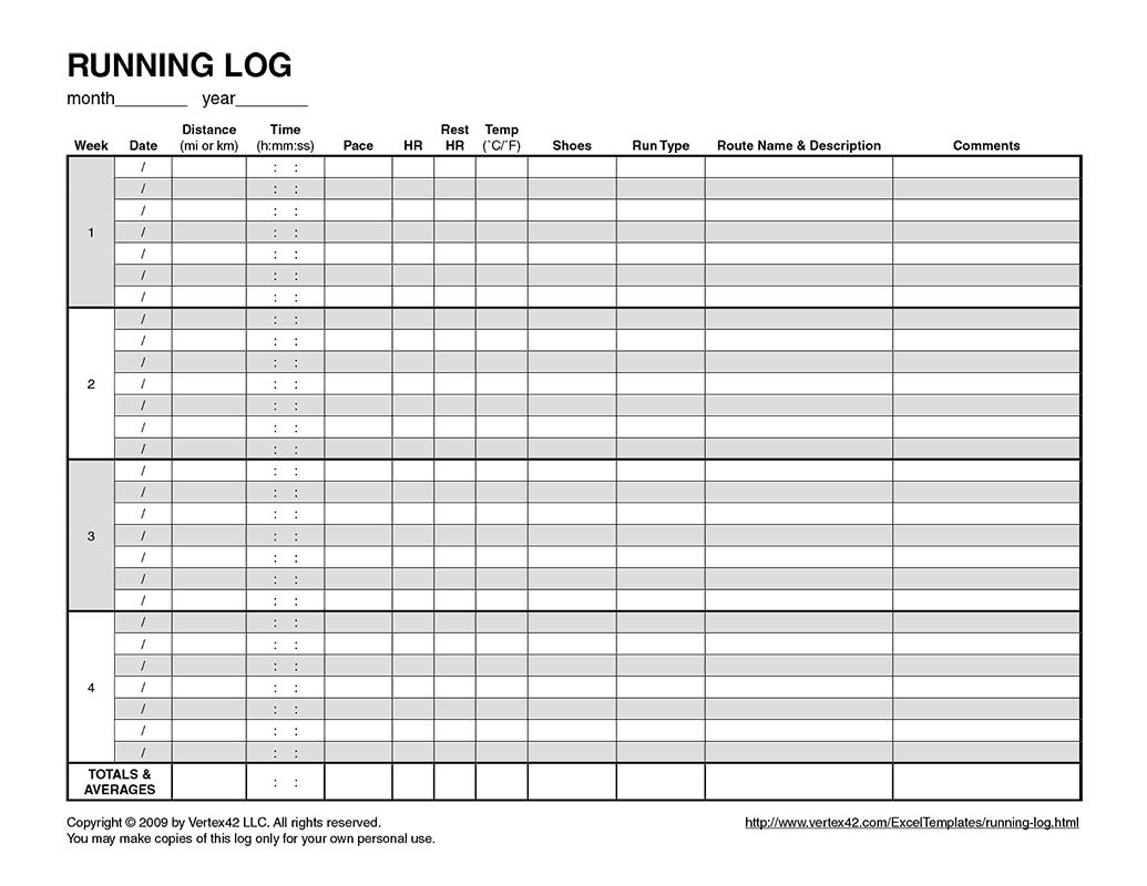 Free Printable Running Log (Pdf) From Vertex42 | Running - Free Printable Running Log