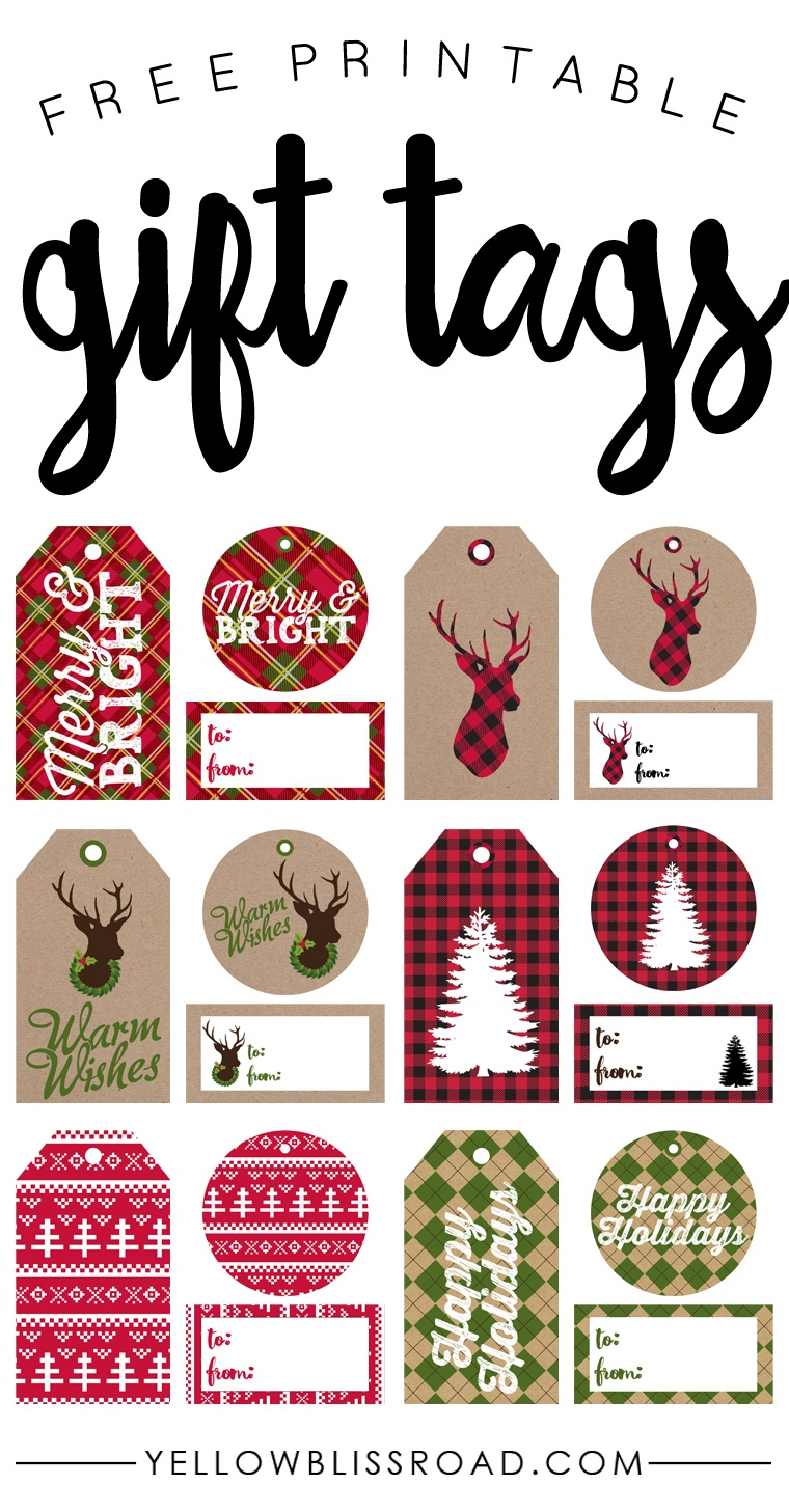 Free Printable Rustic And Plaid Gift Tags - Yellow Bliss Road - Printable Gift Tags Customized Free