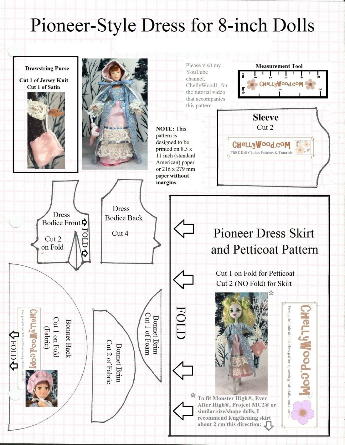 Free Printable Sewing Patterns For Monster High And Ever After - Free Printable Patterns For Sewing Doll Clothes