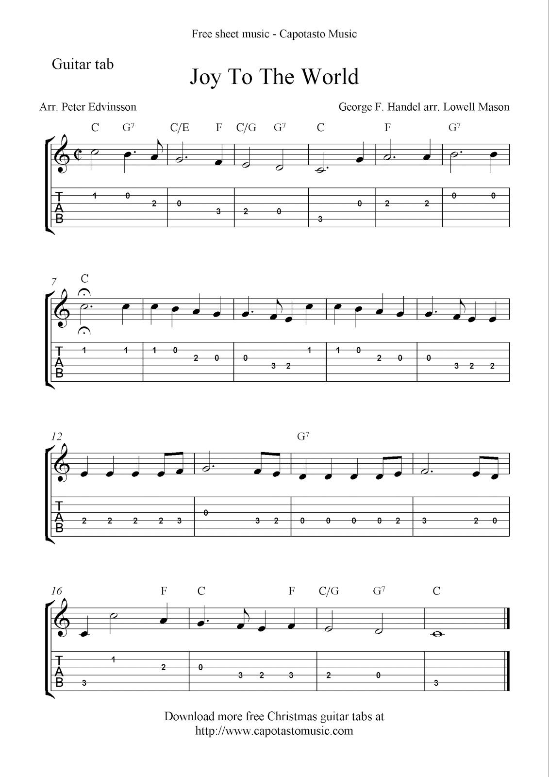 Free Printable Sheet Music: Joy To The World, Free Christmas Guitar - Free Printable Guitar Tabs For Beginners