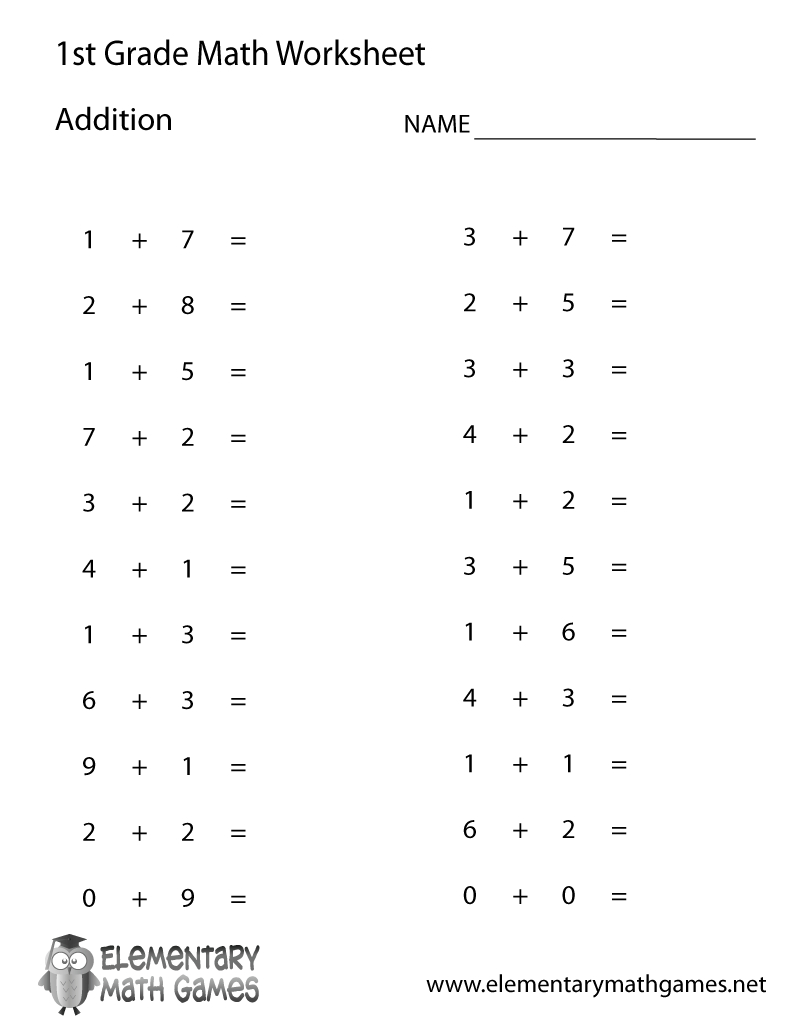 Free Printable Simple Addition Worksheet For First Grade - Free Printable First Grade Worksheets