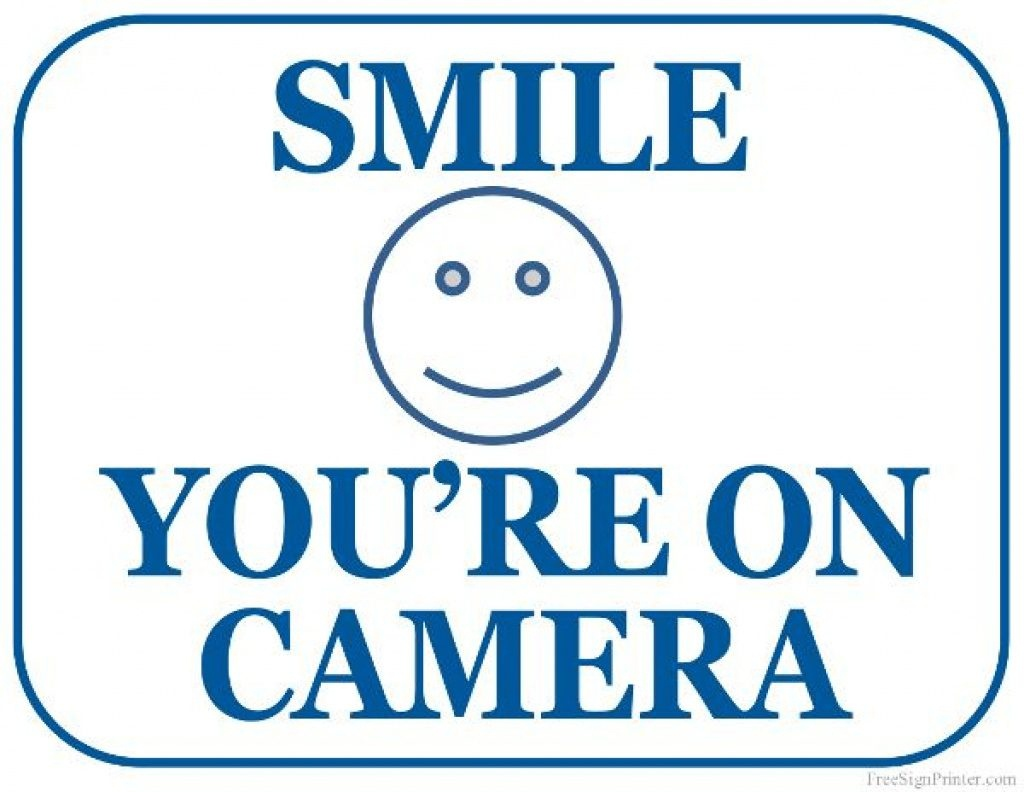 Free Printable Smile Your On Camera Sign | Free Printable - Free - Free Printable Smile Your On Camera