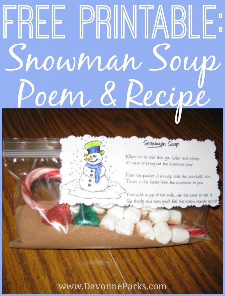 Free Printable: Snowman Soup Poem | Christmas | Snowman Soup - Snowman Soup Free Printable