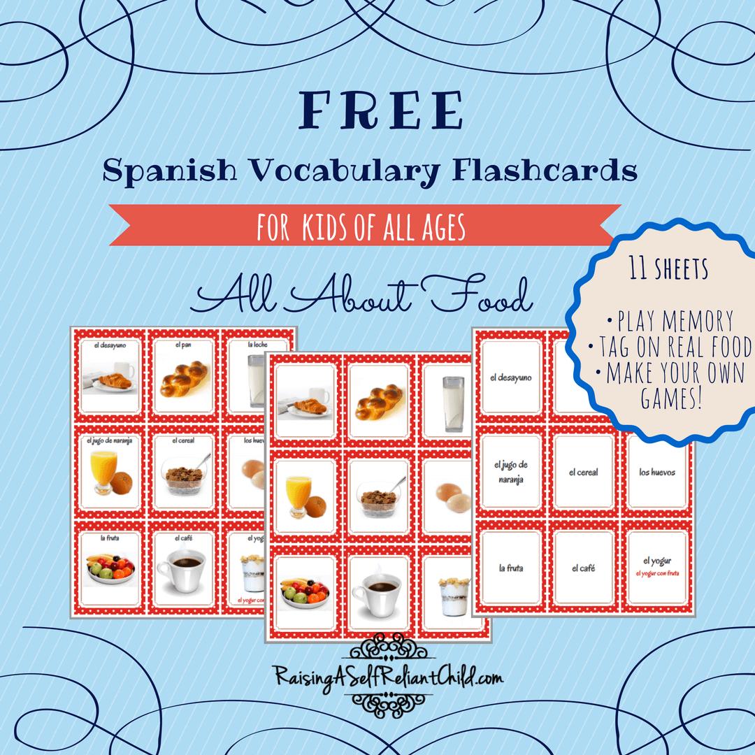 Free Printable Spanish Vocabulary Flashcards | Spanish | Spanish - Free Printable Vocabulary Flashcards