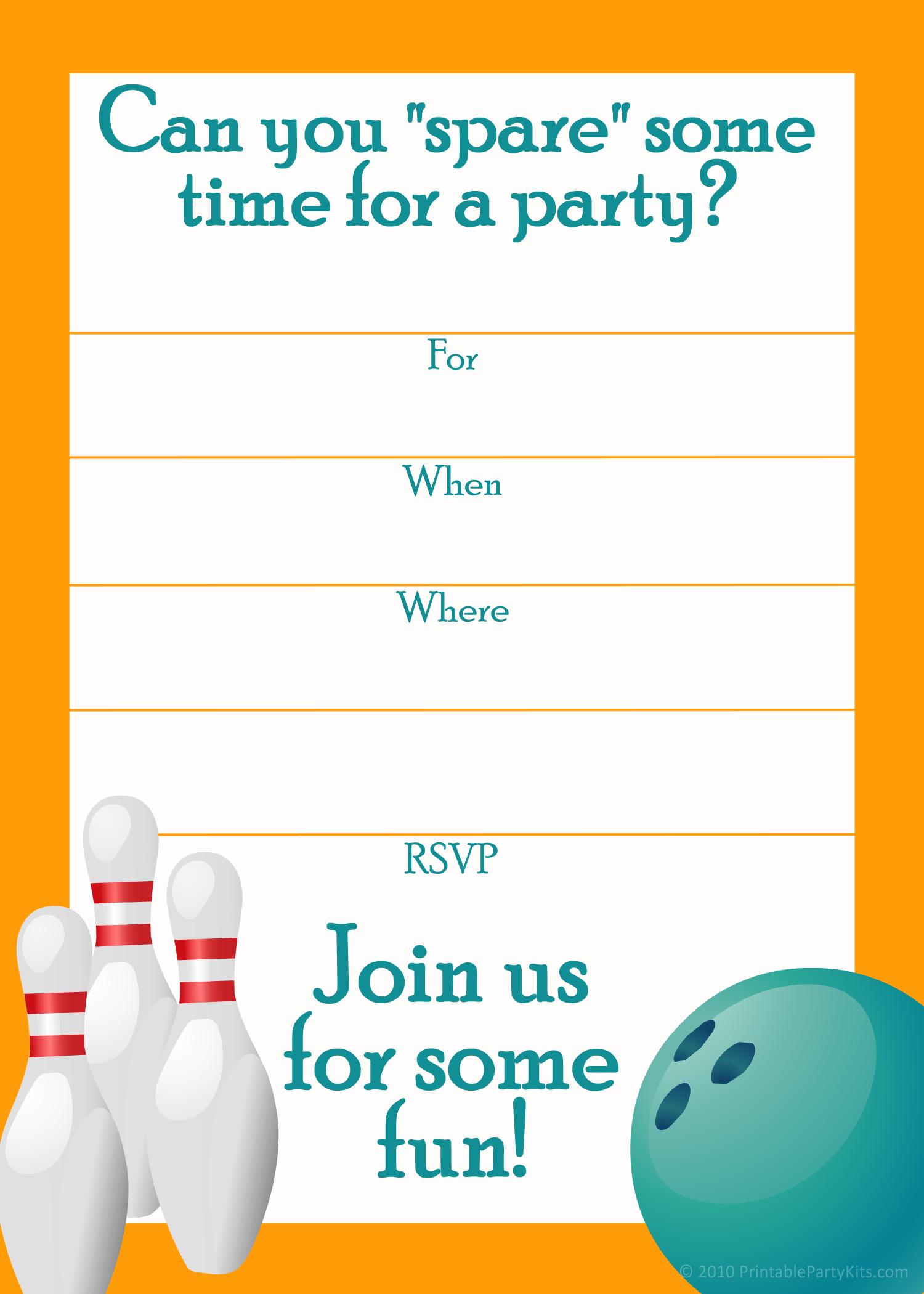 Free Printable Sports Birthday Party Invitations Templates   Party - Free Printable Bowling Invitation Templates