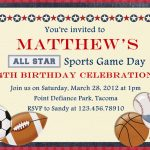 Free Printable Sports Birthday | Showers And Parties | Sports   Free Printable Sports Birthday Invitation Templates