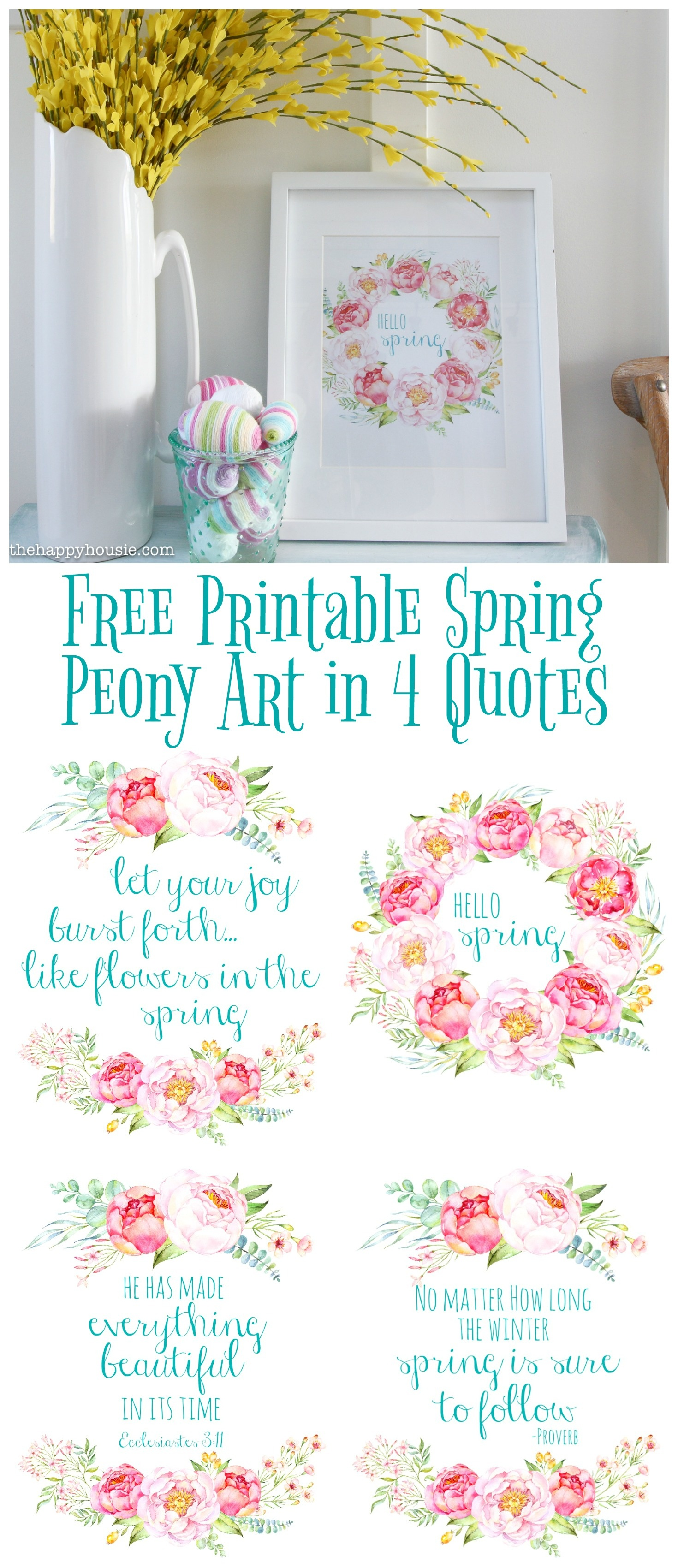 Free Printable Spring Peony Art & Easter Art   The Happy Housie - Free Printable Spring Decorations