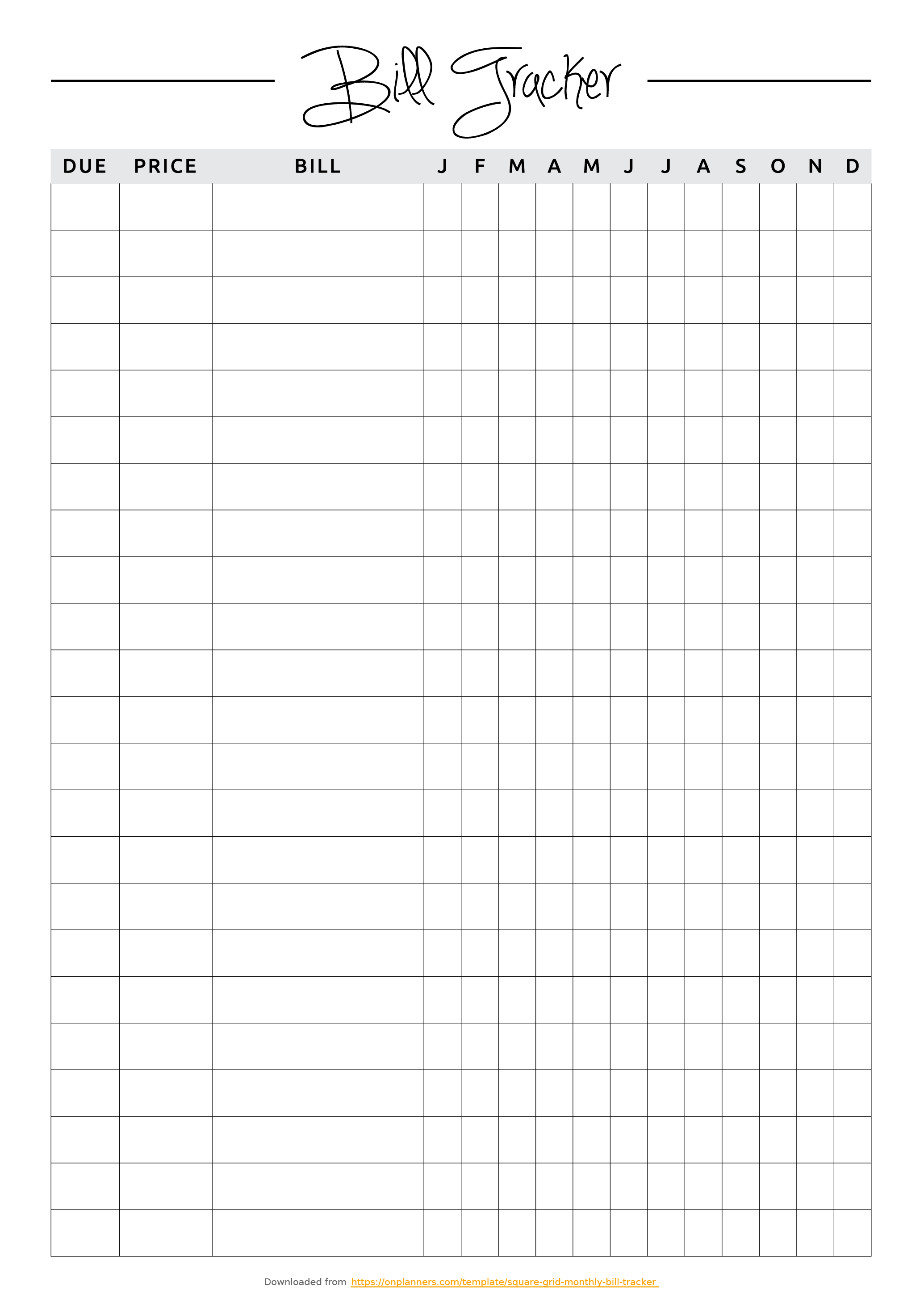 Free Printable Square Grid Monthly Bill Tracker Pdf Download - Free Printable Bill Tracker