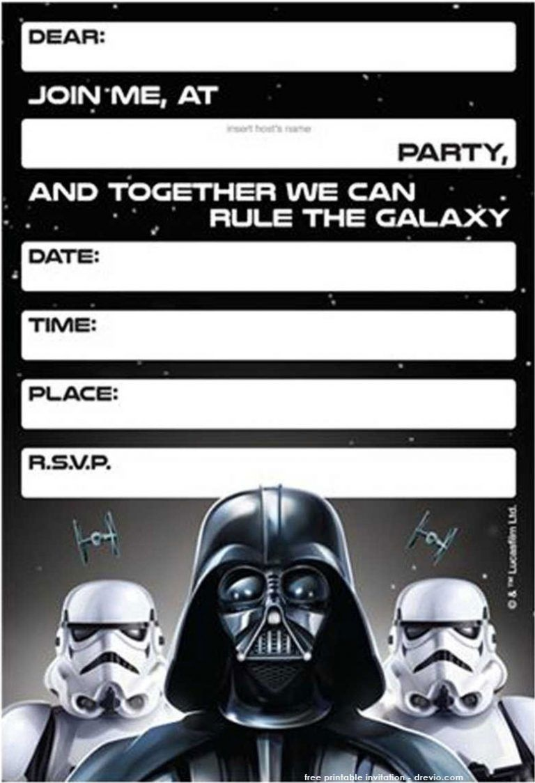 Free Printable Star Wars Birthday Invitations - Template - Star Wars Invitations Free Printable