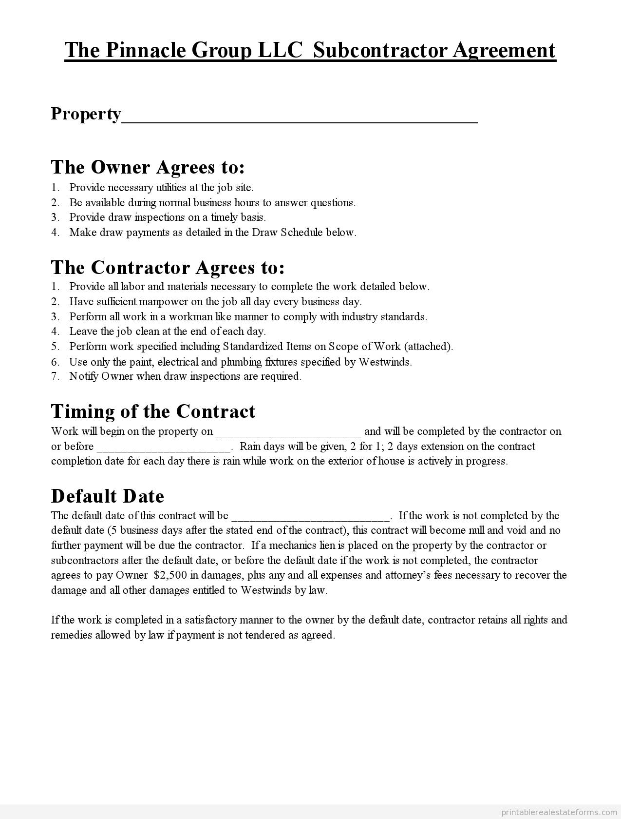 Free Printable Subcontractor Agreement Form | Printable Real Estate - Free Printable Subcontractor Agreement