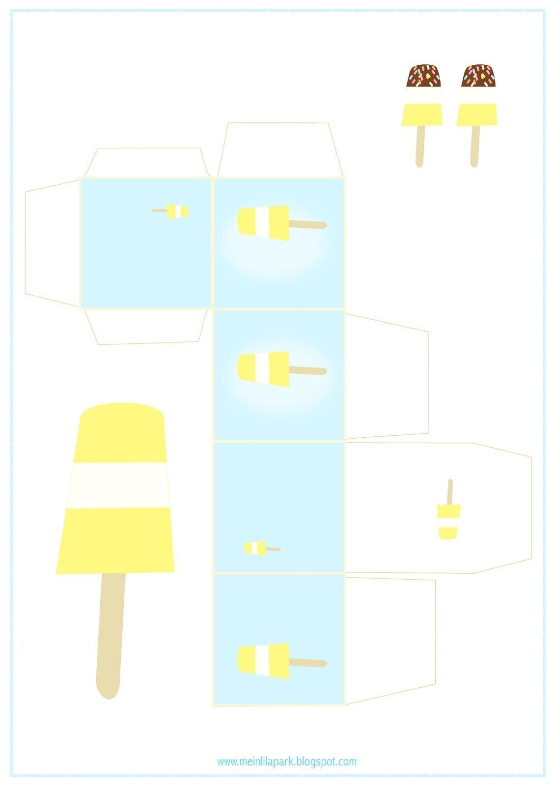 Free Printable Summer Favor Box - Ausdruckbare Geschenkbox - Freebie - Free Printable Popsicle Template