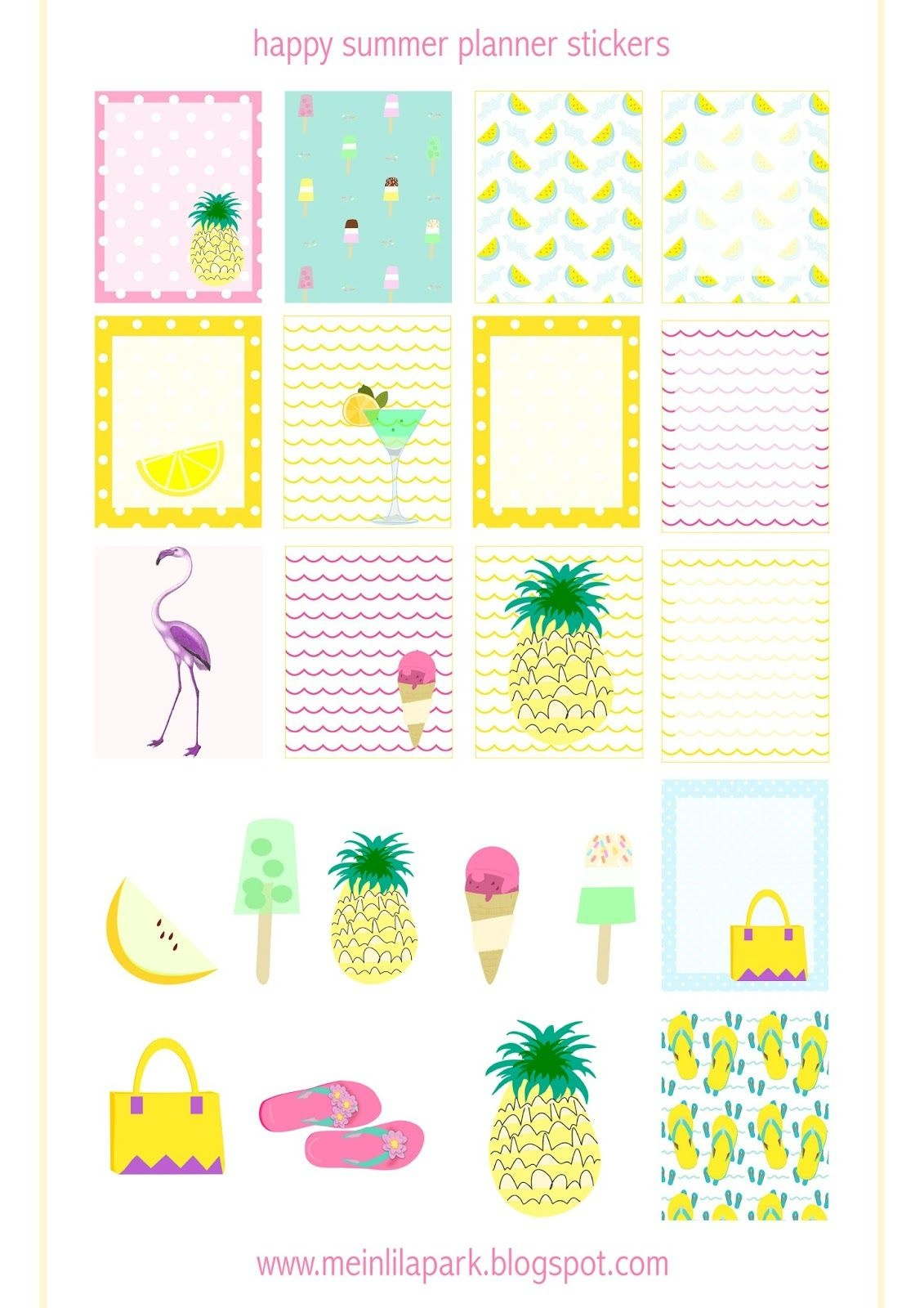 Free Printable Summer Planner Stickers - Ausdruckbare Etiketten - Free Printable Summer Pictures