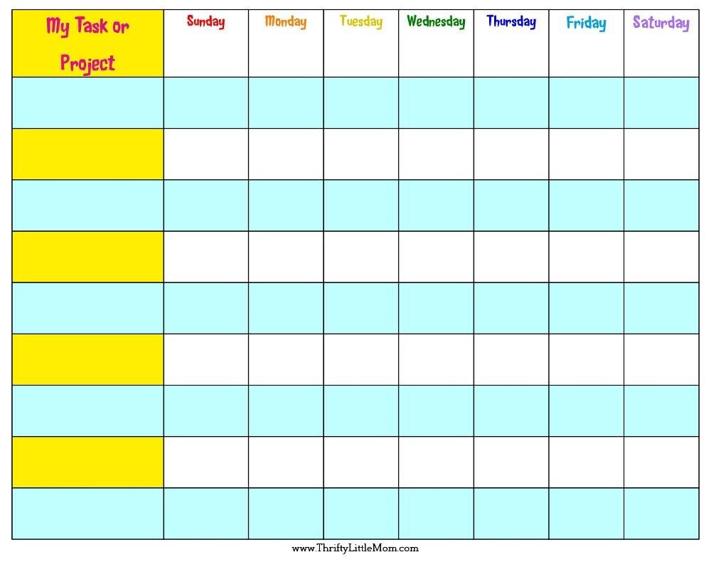 Free Printable Summer Reward Chart For Kids » Thrifty Little Mom - Budgeting Charts Free Printable