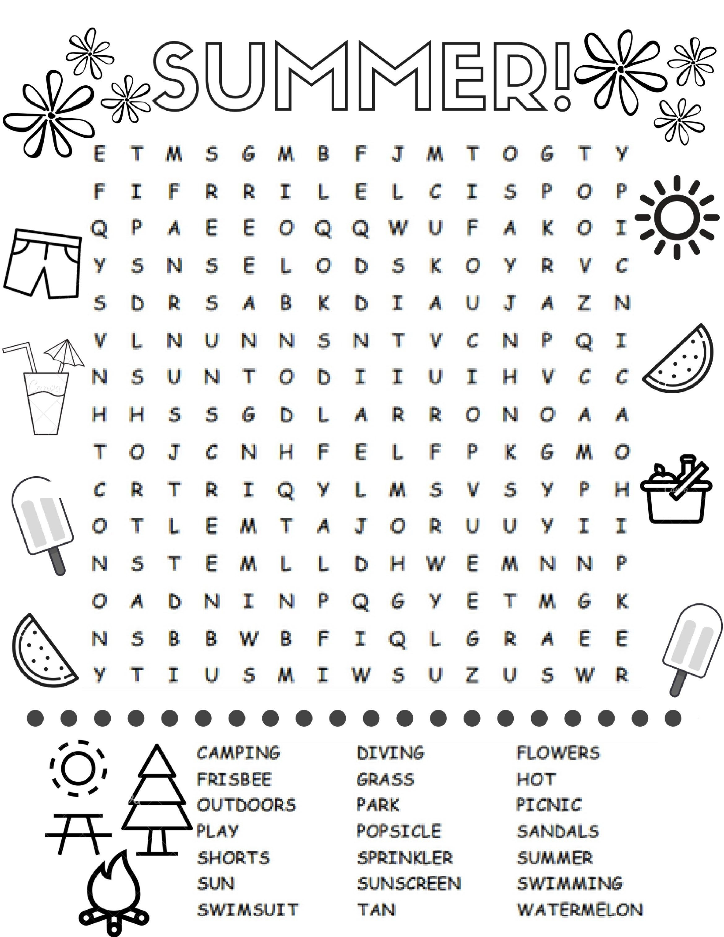 Free Printable Summer Word Search Colouring Page | Printables - Free Printable Summer Puzzles