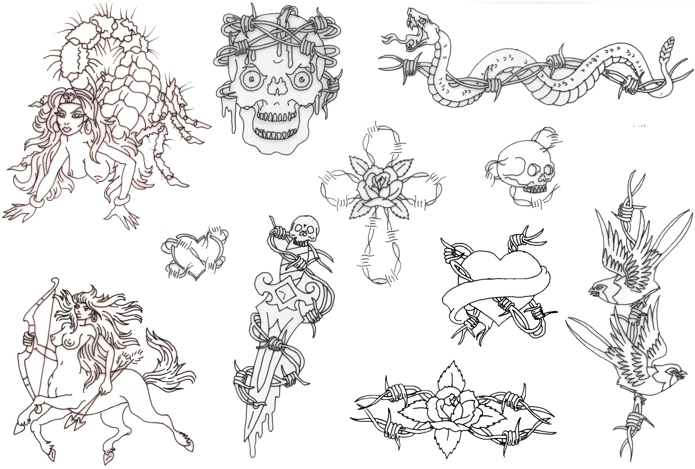 Free Printable Tattoo Flash | Album: Misc Flash Sheets Records 761 - Free Printable Flash Tattoo