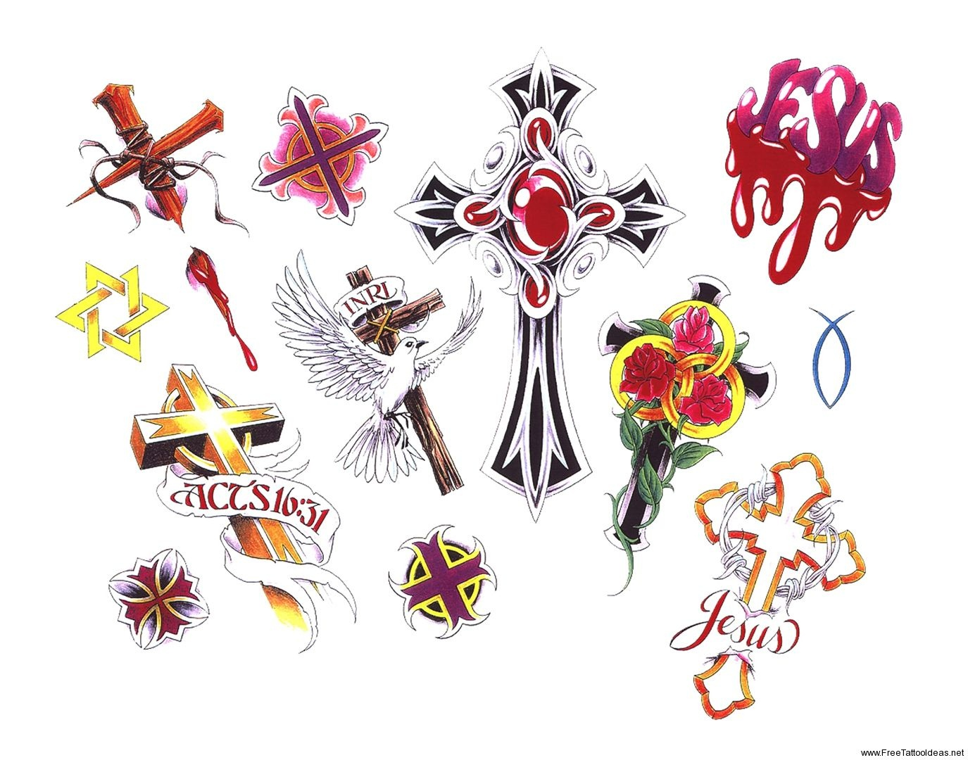 Free Printable Tattoo Flash | Cross Tattoos Designs - Free Cross - Free Printable Cross Tattoo Designs