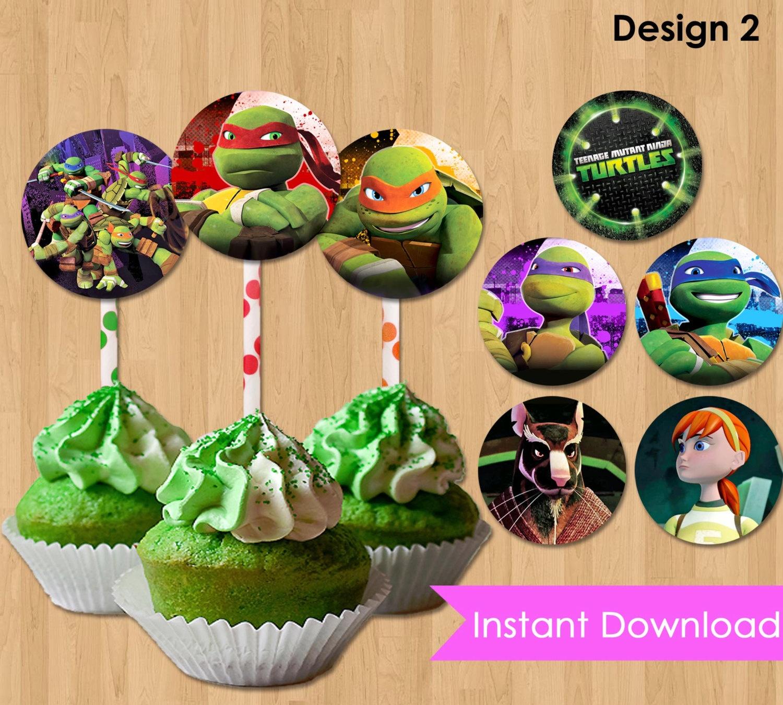 Free Printable Teenage Mutant Ninja Turtle Cupcake Toppers | Free - Free Printable Teenage Mutant Ninja Turtle Cupcake Toppers