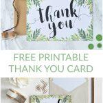 Free Printable Thank You Botanical Inspired Card | Wedding   Free Printable Thank You