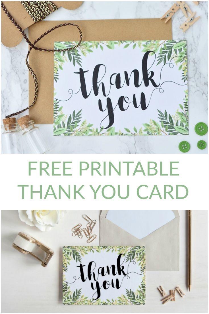 Free Printable Thank You Botanical Inspired Card | Wedding - Free Printable Thank You Cards