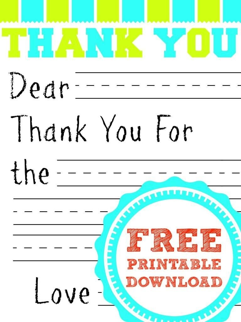 Free Printable Thank You Card | Kids Thank You Note Templates - Thank You Card Free Printable Template