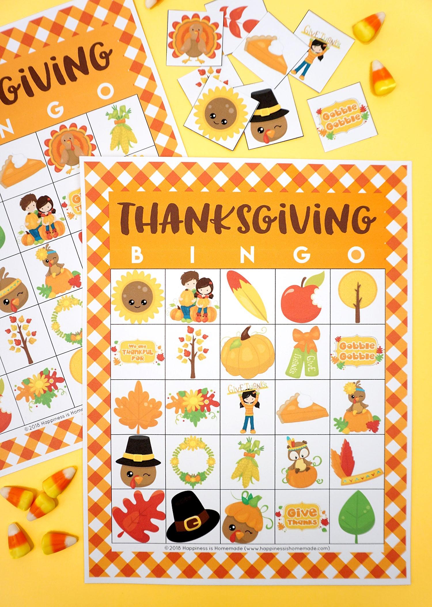 Free Printable Thanksgiving Bingo Cards - Happiness Is Homemade - Free Printable Thanksgiving Cards
