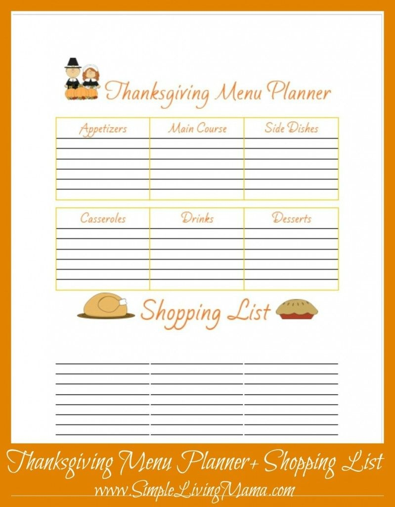 Free Printable Thanksgiving Menu Planner | Free Printables - Free Printable Thanksgiving Menu Template