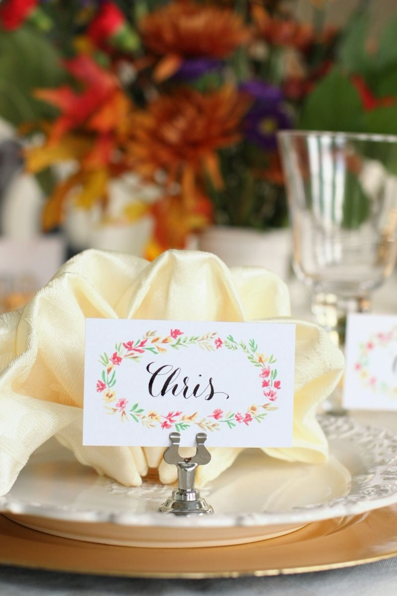 Free Printable Thanksgiving Place Cards | Watercolor Florals - Free Printable Thanksgiving Place Cards