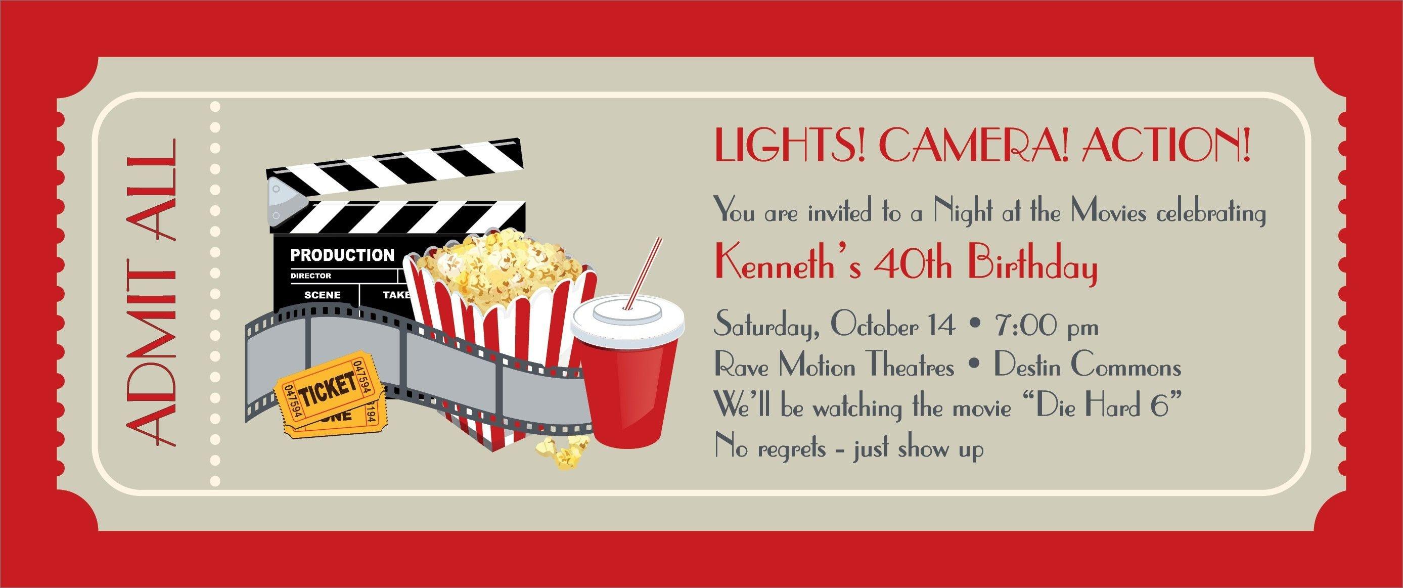 Free Printable Ticket Invitations Inspiration Movie Party - Free Printable Movie Ticket Birthday Party Invitations